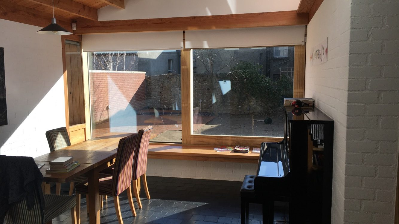 Timber sliding window and window seat