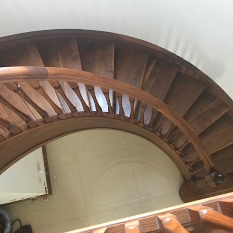 Walnut Curved Stairs.
